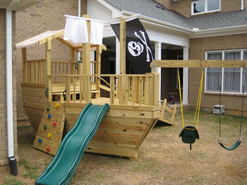 Pirate ship playground how awesome would this be - Pirate ship wooden playground ...