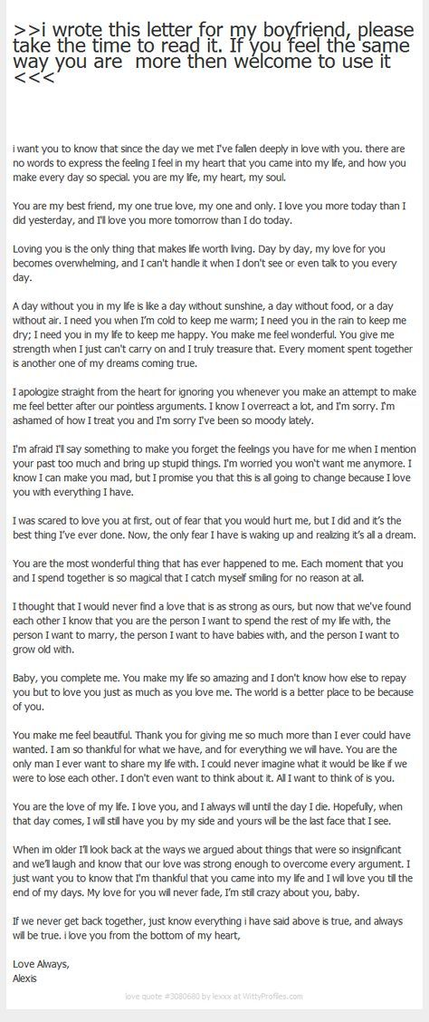 I Wrote This Letter For My Boyfriend, Please Take The Time To Read