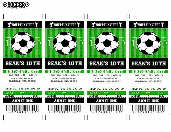 Soccer Birthday Party Invitation Ticket Printable by SqweezDesign - invitation ticket