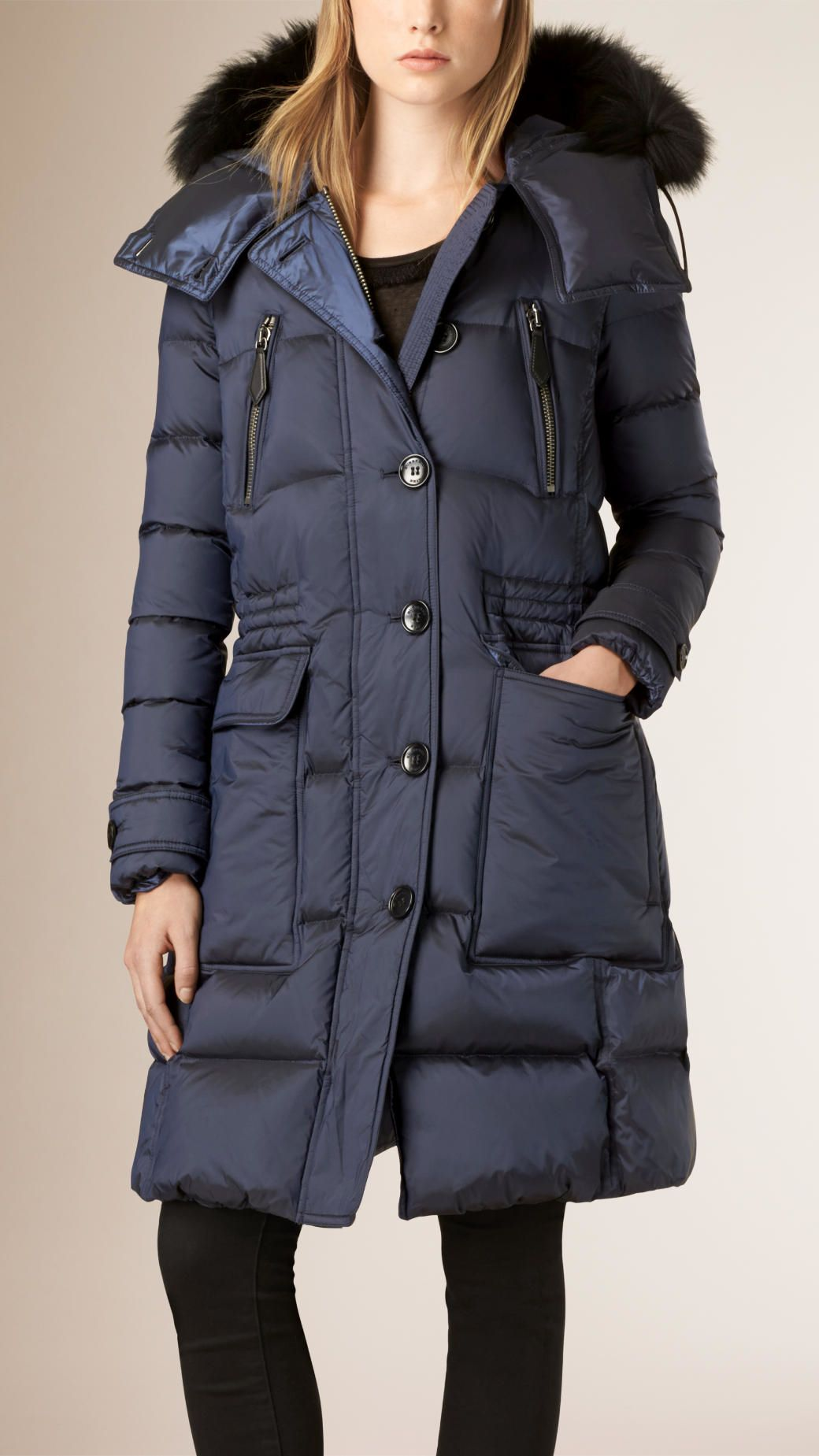 Women's Blue Down-filled Puffer Coat With Fox Fur Trim Hood ...