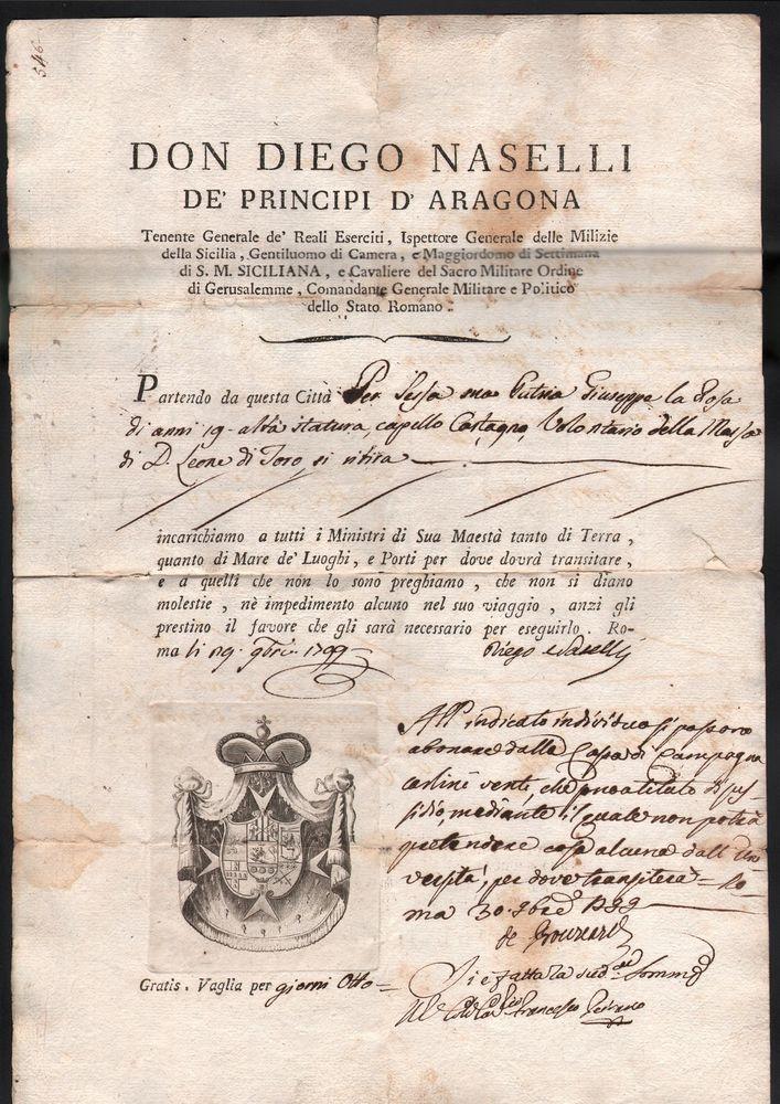 BRIGANTAGGIO FIRMA AUTOGRAFA DI DIEGO NASELLI  E DI DE BOUCARD 29 OTTOBRE 1799