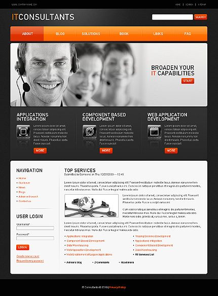 10+ IT Support Website Templates | Website, Template and Business