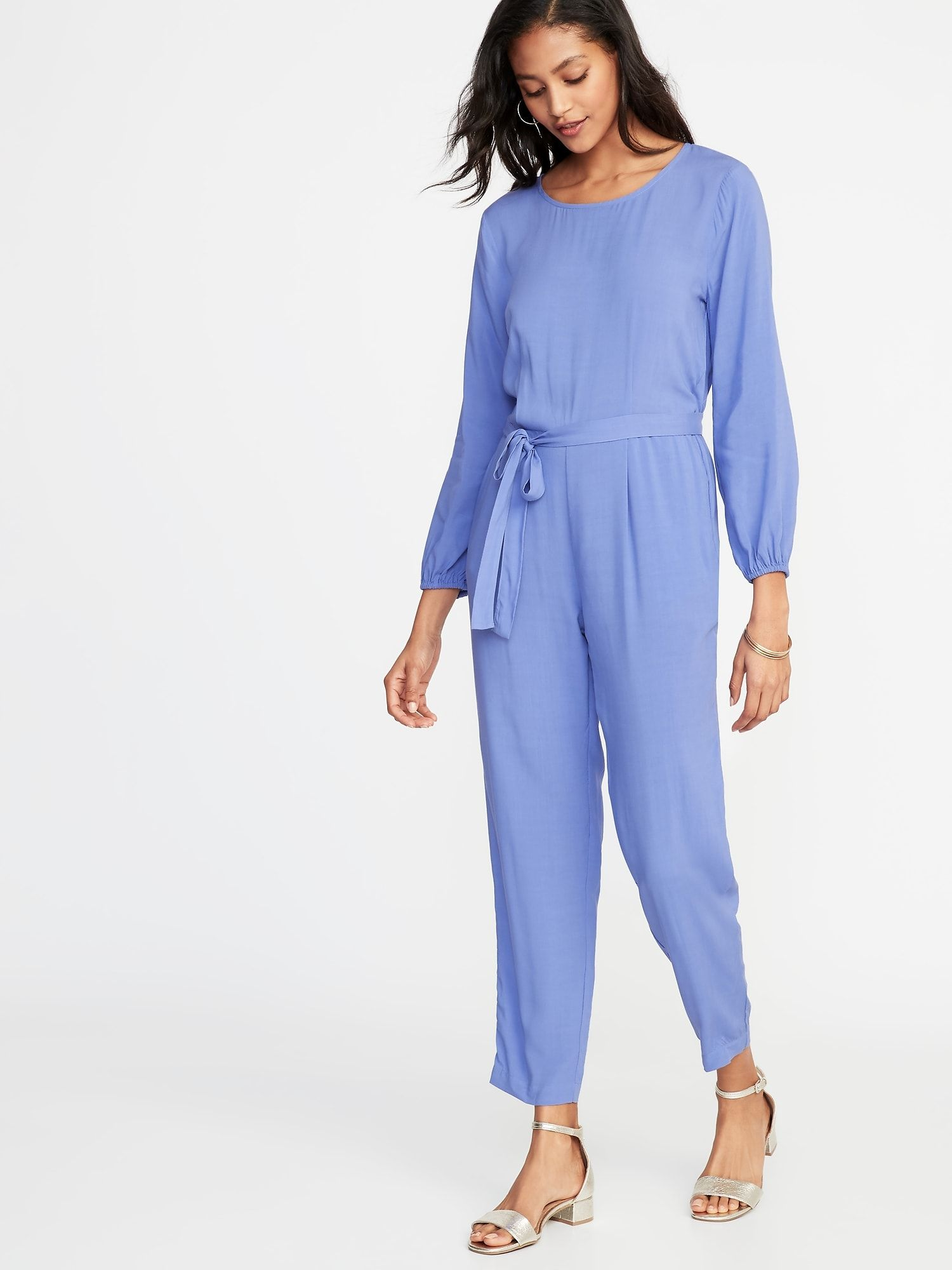 58c950eb265 Waist-Defined Cross-Back Jumpsuit for Women in 2019