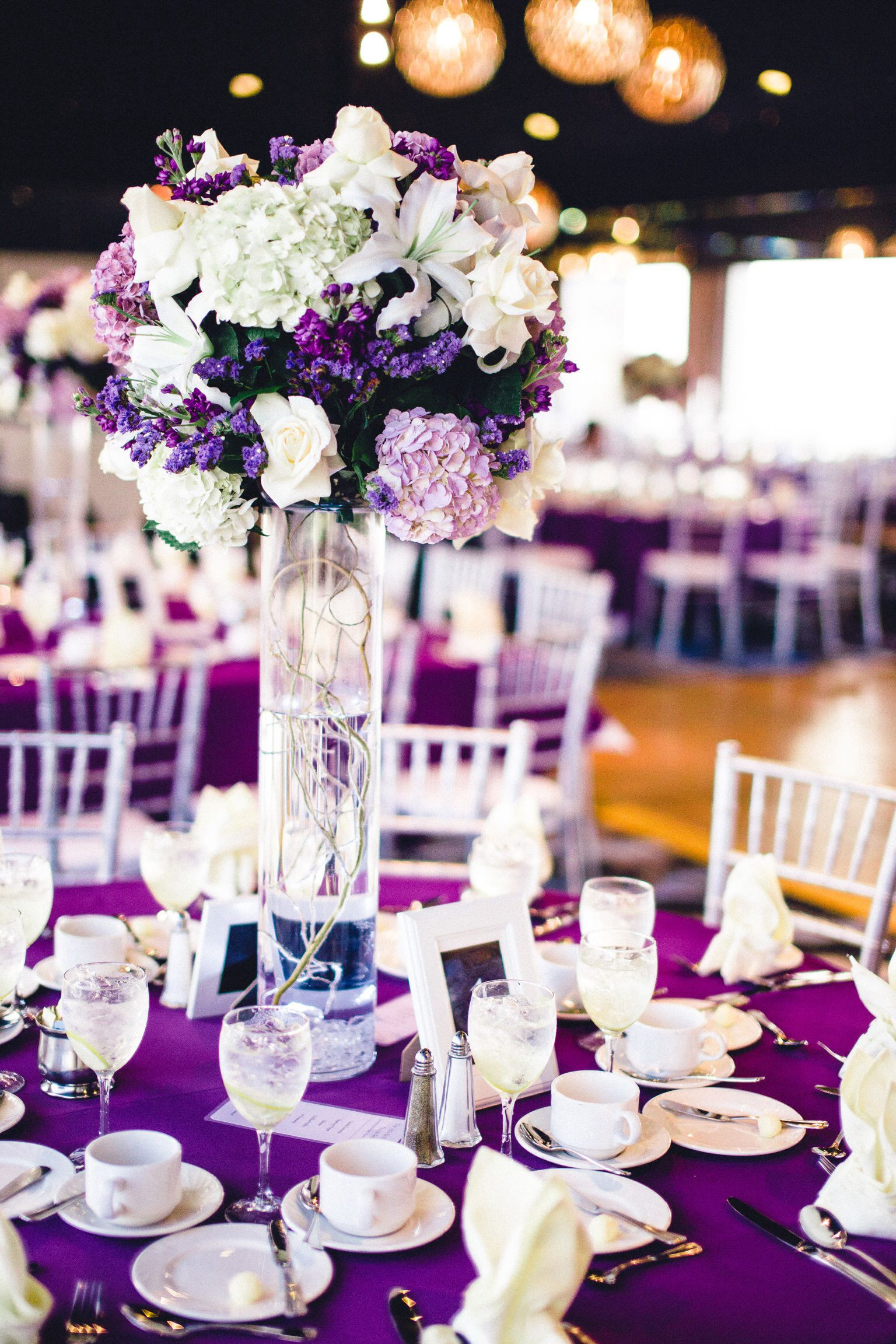 Purple themed centerpiece Nicoles 18th Birthday Debut