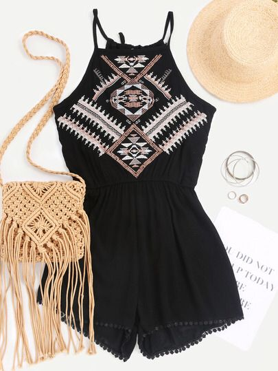 Aztec Embroidered Elastic Waist Cami Romper Only US$17.00