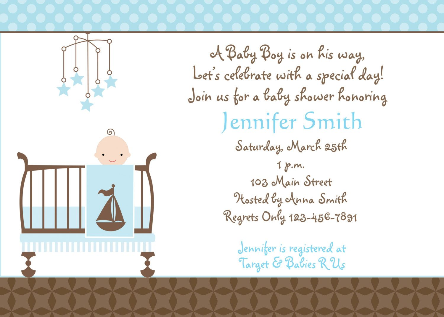 Baby Shower Invitation   Baby Boy Shower Invitation    You Print Or I Print  Baby Shower Invitations For Word Templates