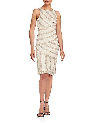 Aidan Mattox Jewelneck Sleeveless Dress - Champagne - Size
