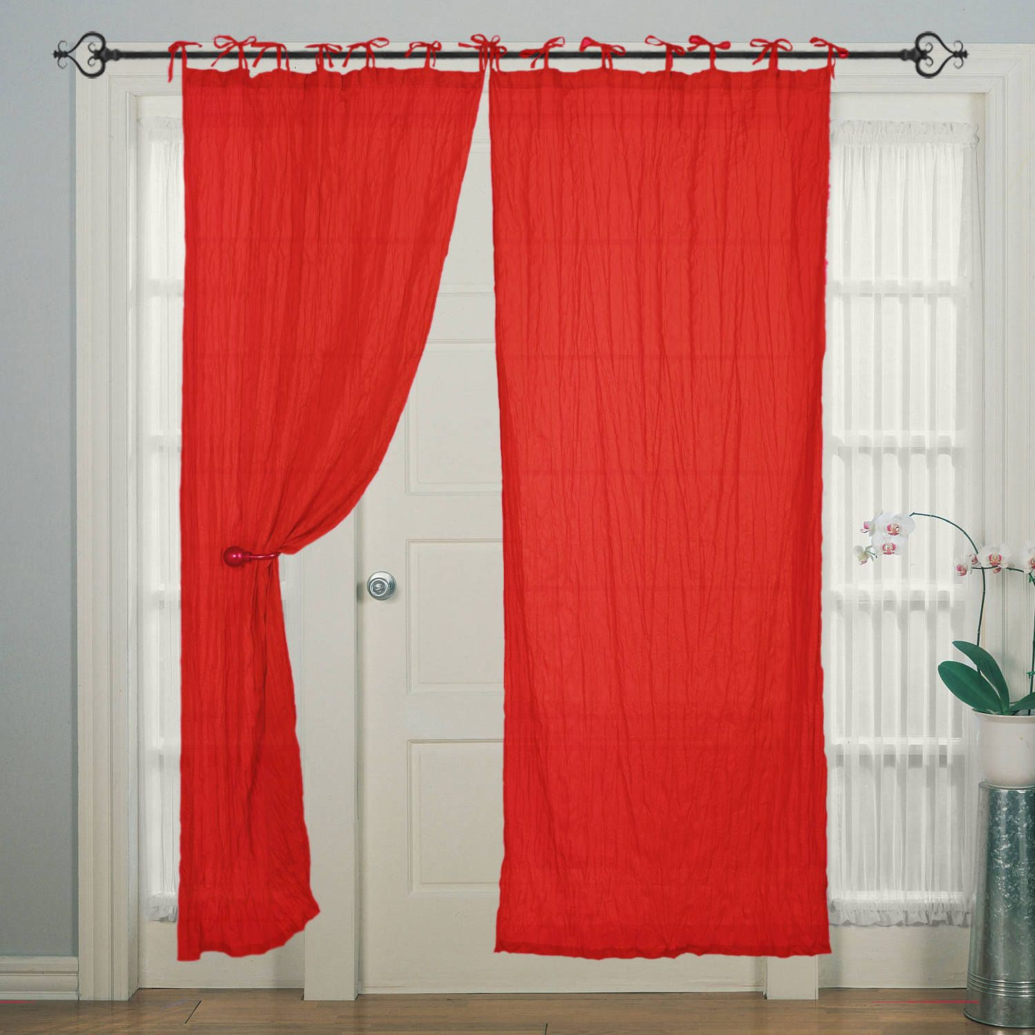 Tie Top Cotton Piping Red Window Door Curtain For Bedroom By