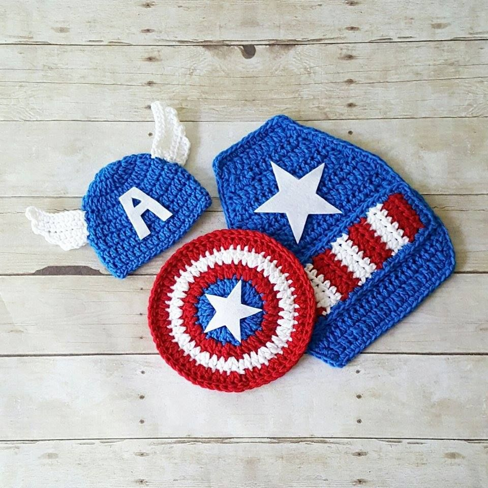 204094d1ca00c Crochet Baby Captain America Hat Beanie Shield Cape Set Superhero Newborn  0-3 Months Diaper Cover Optional Photography Photo Prop Gift