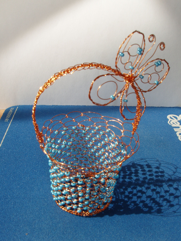 košíček | drátky - wire - crochet | Pinterest | Wire crochet, Wire ...