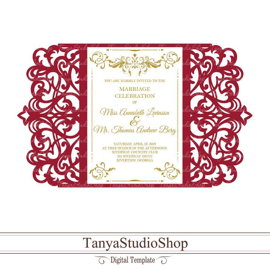 Gate Fold Invitation Template Svg Dxf Ai Crd Eps Laser Etsy Invitations Wedding Invitations Cricut Invitations