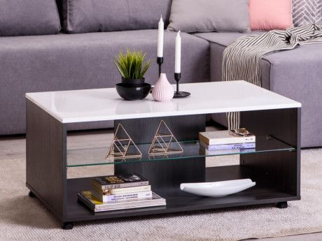 Table Basse Timeo 2 Niches Mdf Verre Blanc Wenge Table