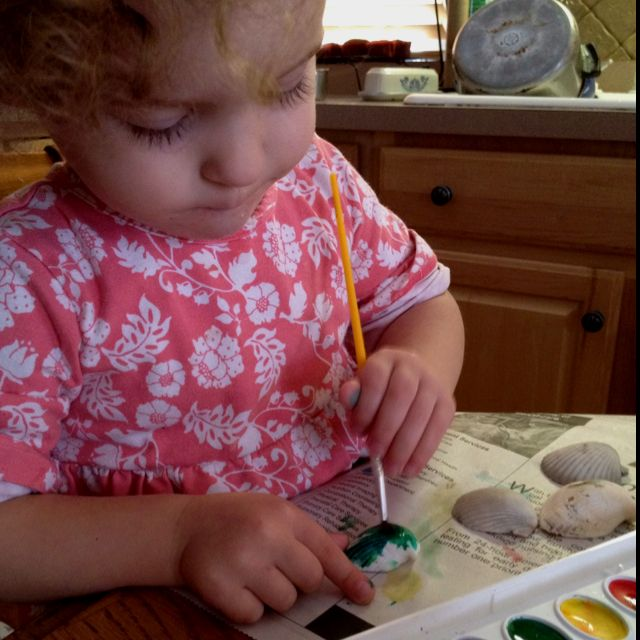 Going to the beach? Bring home a bunch of white shells to paint with watercolors when you get home. Very fun.