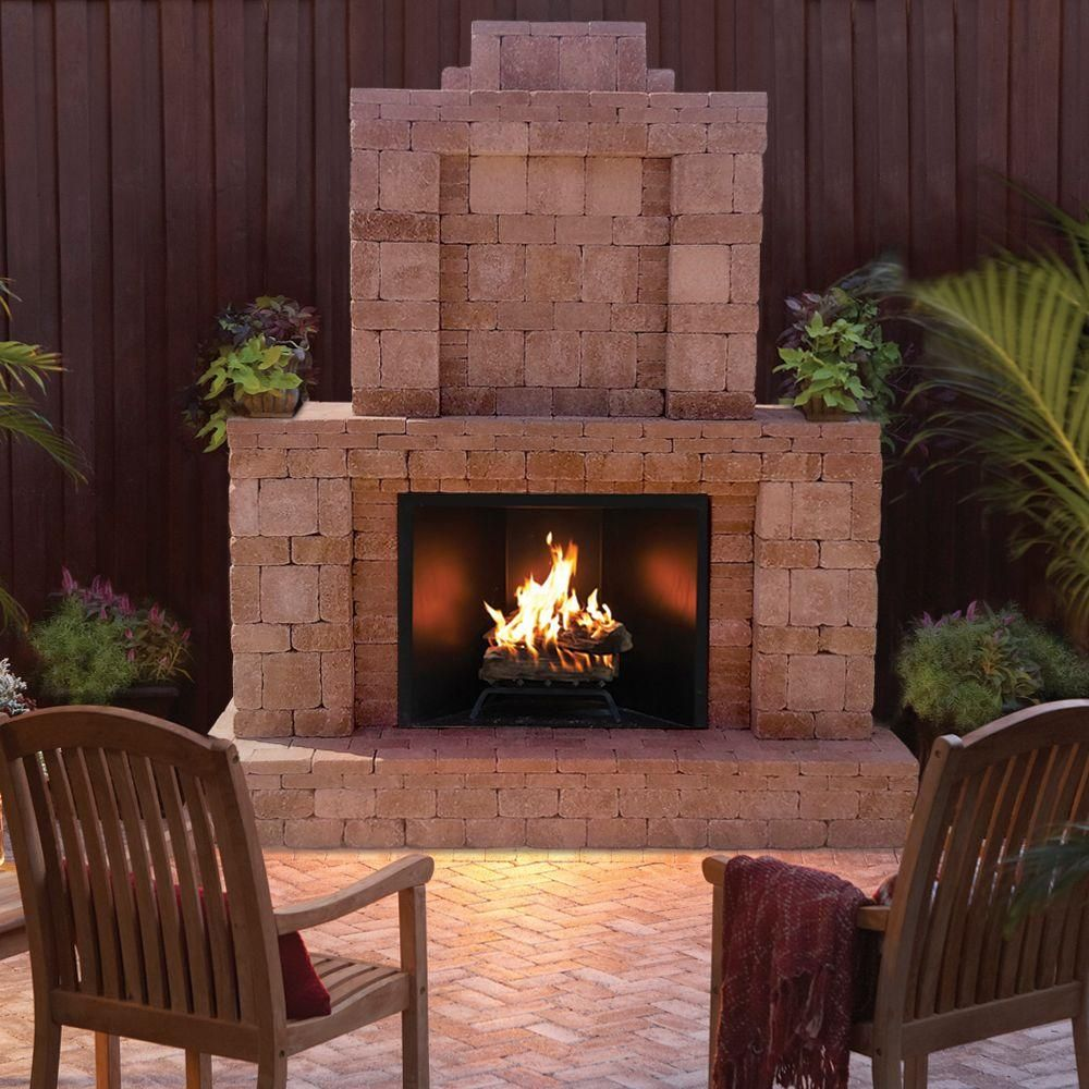 Pavestone RumbleStone 84 In. X 38.5 In. X 94.5 In. Outdoor Stone Fireplace In Cafe In 2019