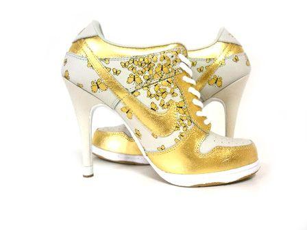 Nike Dunk SB High Heels Butterfly White Gold