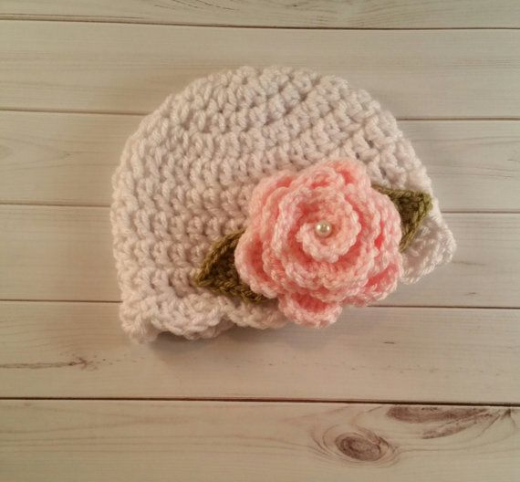 baby girl hat Crochet Flower embellished hat infant hat Ready To Ship crochet baby hat