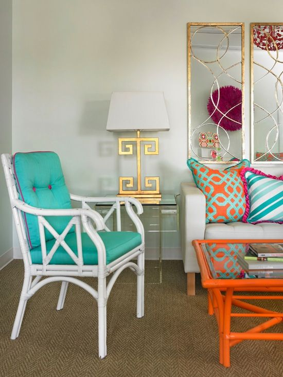 Vintage rattan, painted brightly with chic modern design elements ...