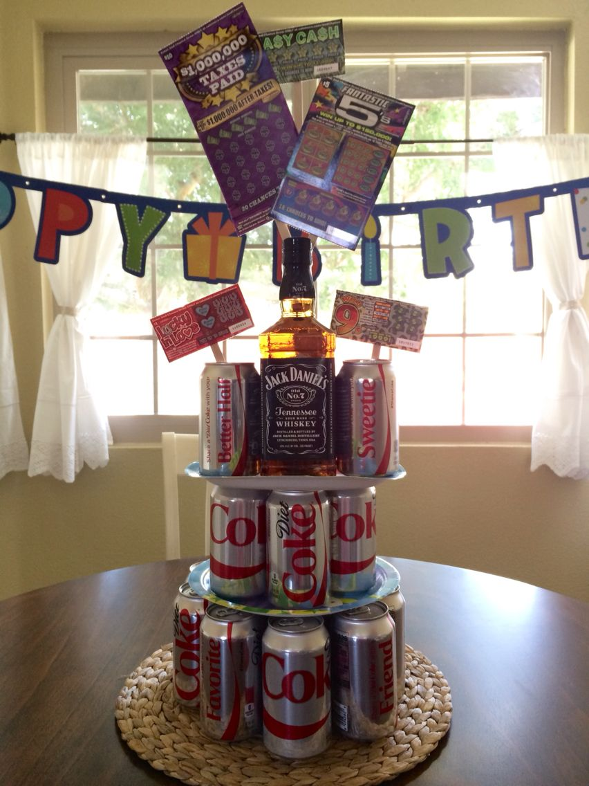 Jack & Coke Lottery Ticket Cake Tower for Hubby's Birthday