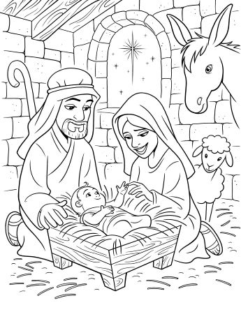 mary and joseph sit next to the manger where baby jesus lies - Baby Jesus Manger Coloring Page