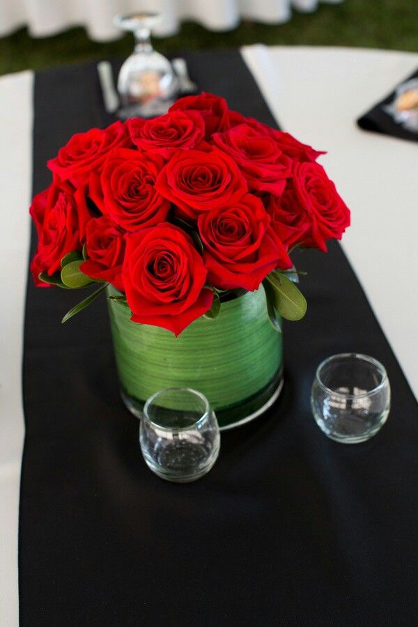 Stunning Wedding Red Black White Wedding Centerpiece
