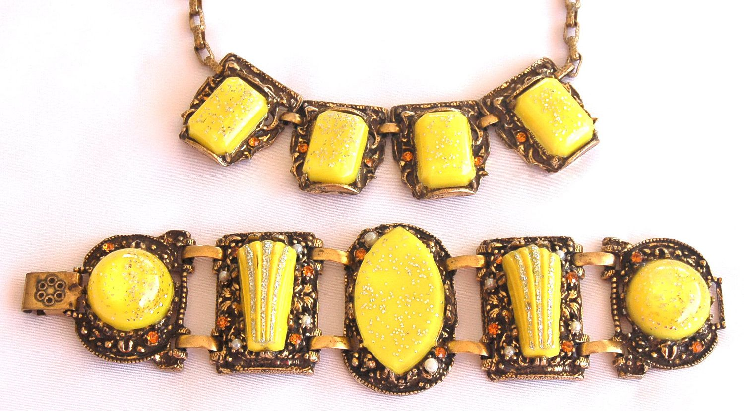 Selro Necklace Bracelet Set  Yellow Confetti by EmbellishgirlVintage on Etsy https://www.etsy.com/listing/82616791/selro-necklace-bracelet-set-yellow