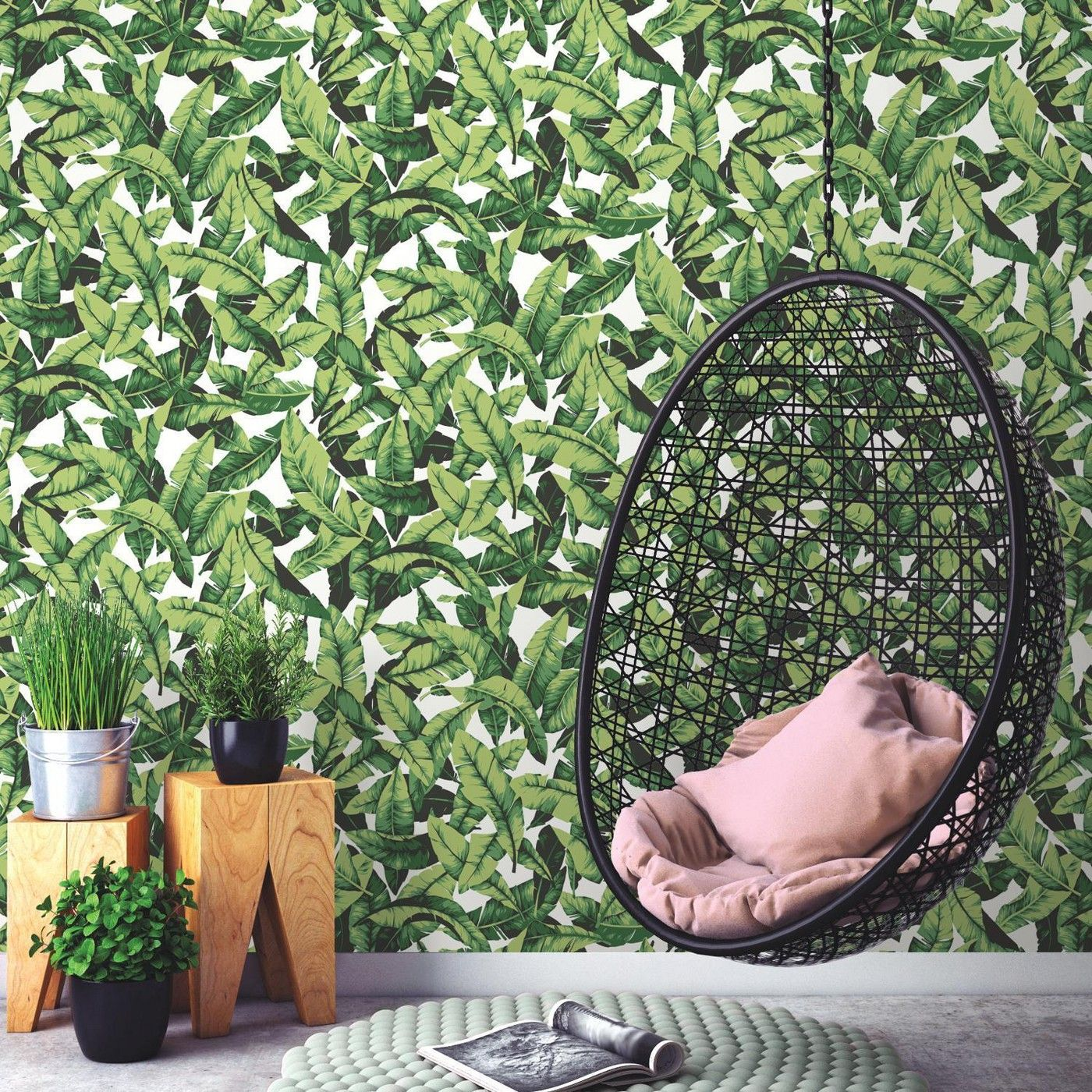 Roommates Palm Leaf Peel Stick Wallpaper Green White Peel And Stick Wallpaper Palm Leaf Wallpaper Removable Wallpaper