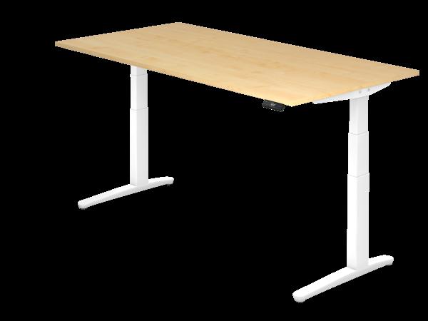 Sitz Steh Schreibtisch Elektrisch 200x100cm Ahorn Weiss