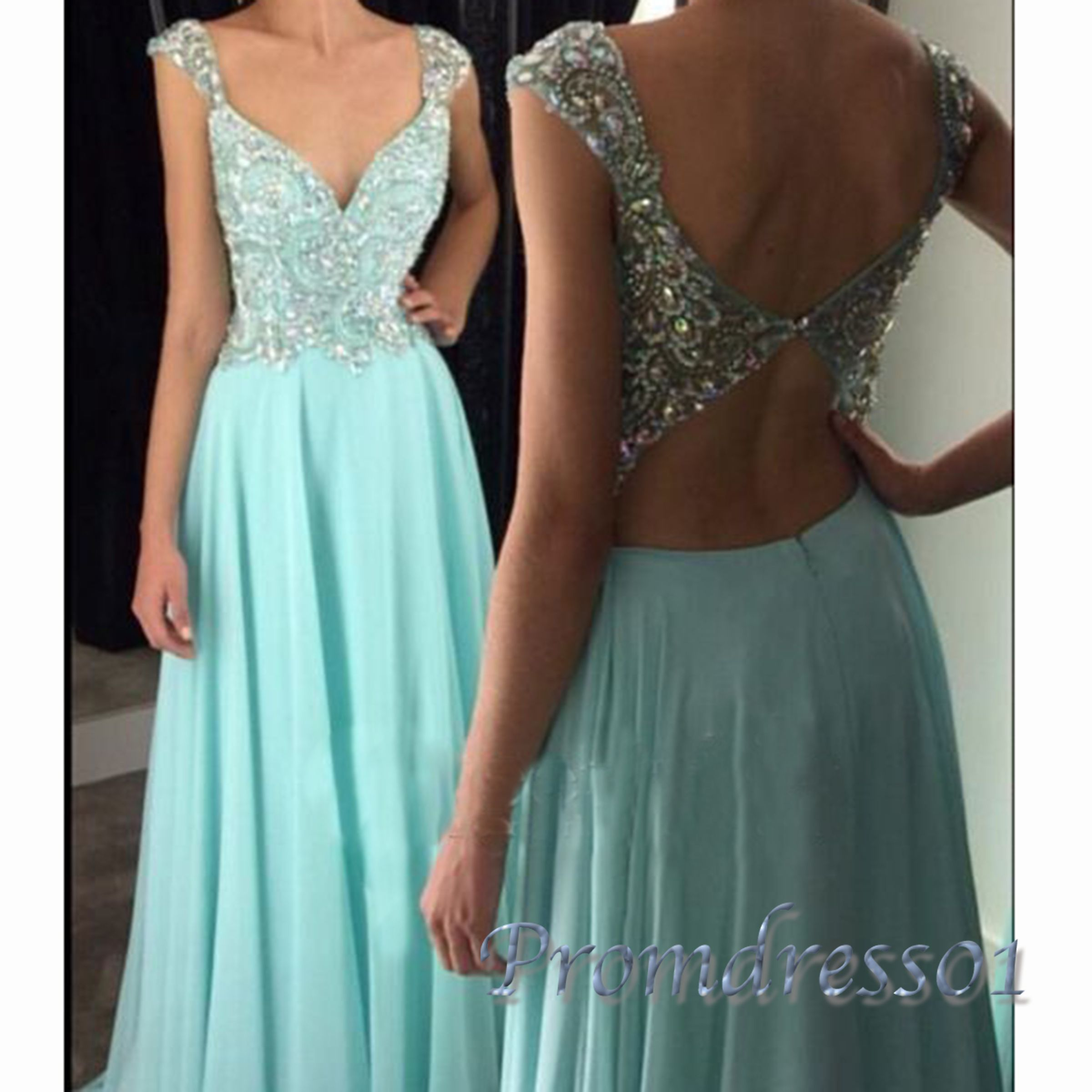Cute ice blue chiffon vneck long prom dress with straps ball gown