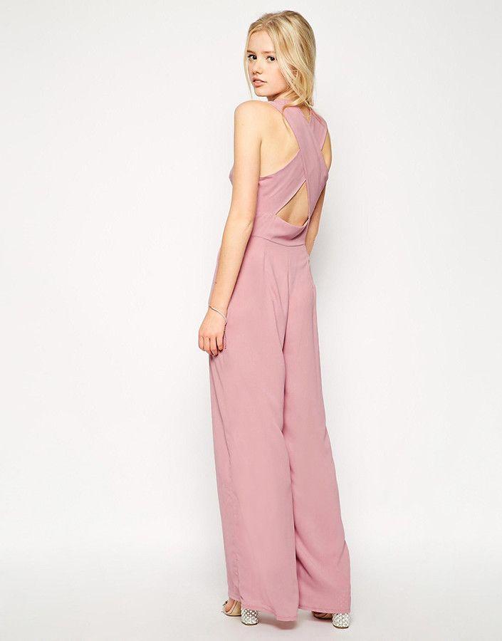 Love Jumpsuit rosa palo con escote en pico y tiras cruzada en la ...