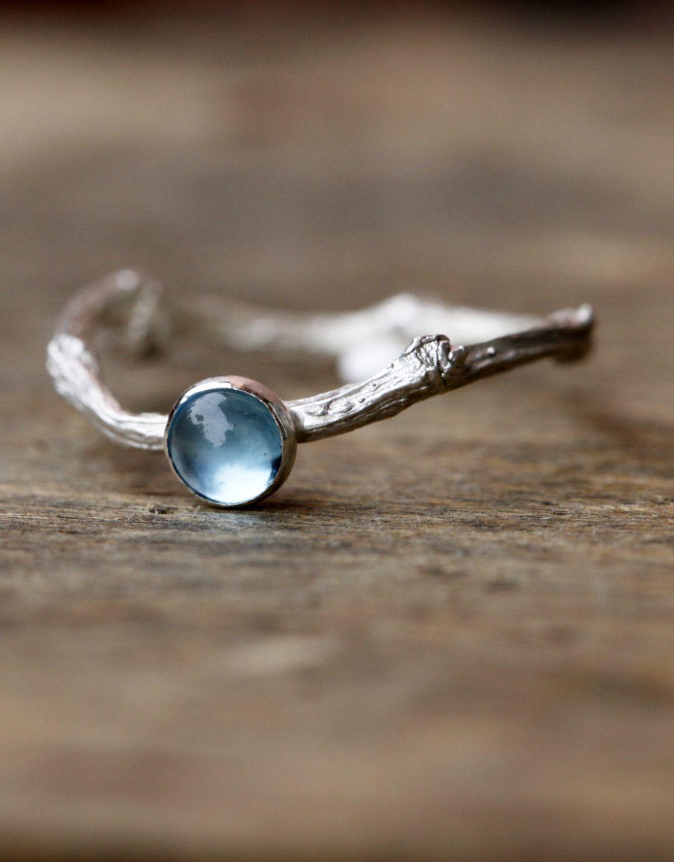 Topaz twig ring in sterling silver topaz gemstone branch - Verlobungsring blau ...