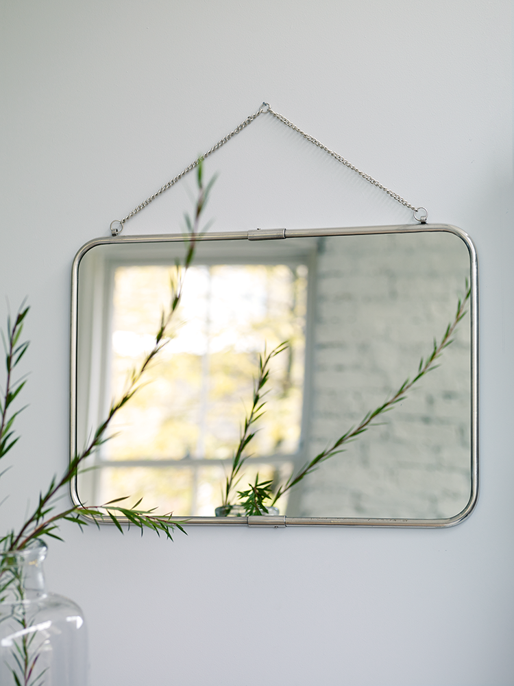 Feminine And French Style With A Delicate Chain For Hanging Our Large Rectangular Mirror Adds To Your Bedroom Or Bathroom