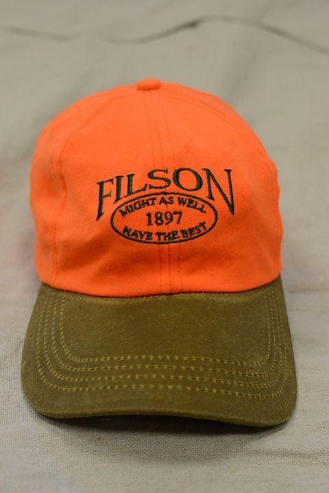 Filson Tin Cloth Low Profile Cap With Blaze Orange  e4133e851b2