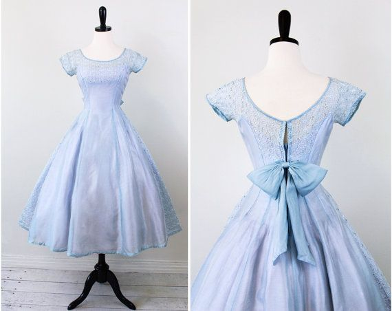 ALICE! 1950s 50s dress // Sky Blue and Lavender Cupcake Dress with Eyelet Panels and a Sweet Big Bow