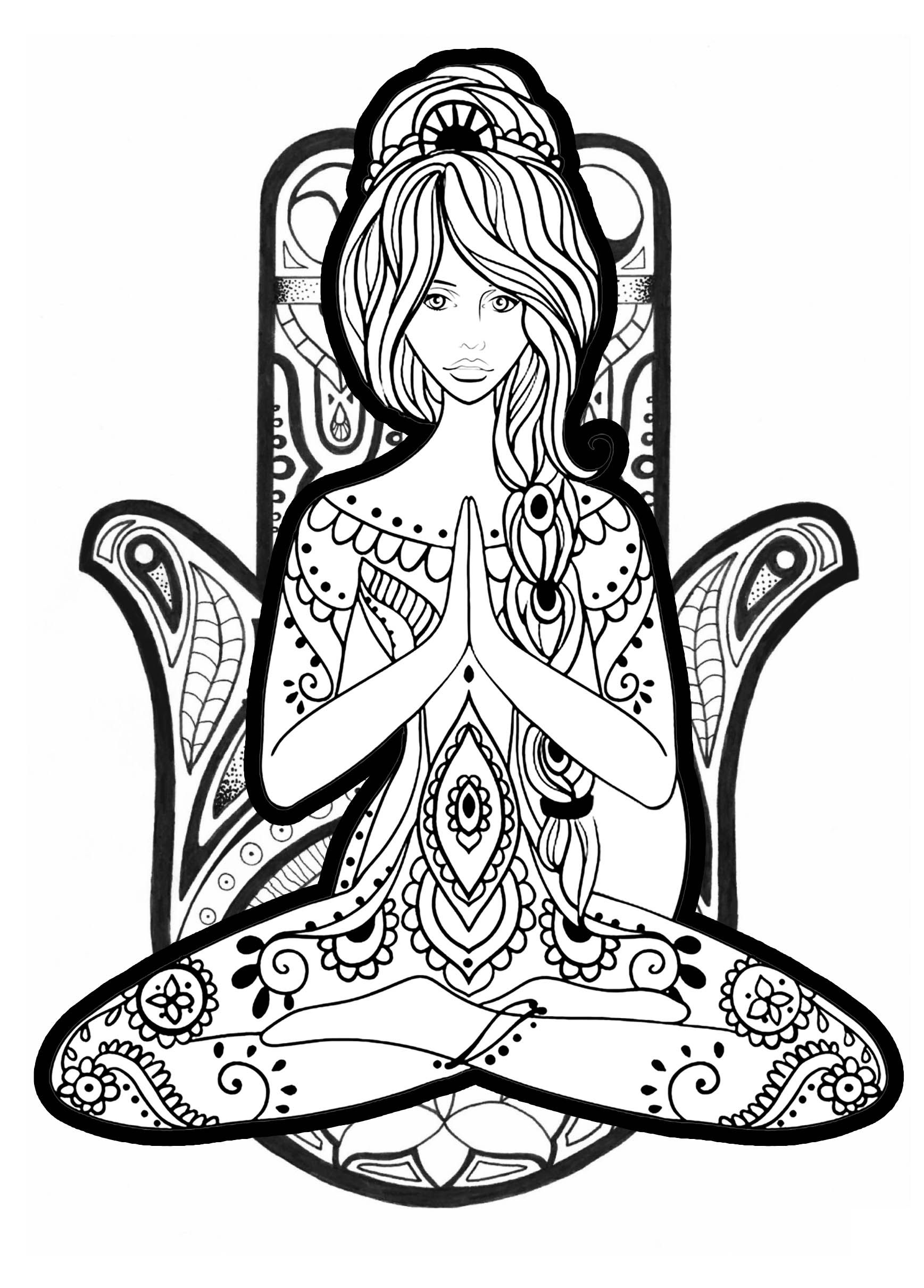 Yoga Coloring Page Difficult From The Gallery Zen Free