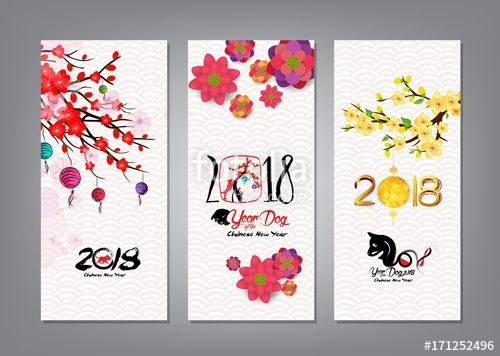 vector vertical hand drawn banners set with chinese new year 2018 hieroglyph dog