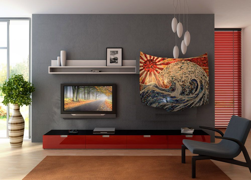 Japanese Woodcut Tsunami Inspired Car Hood Wall Art Original In A Modern Home Living Room