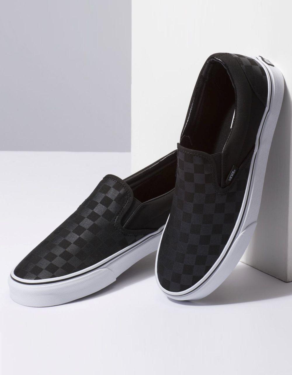 black slip on vans checkerboard