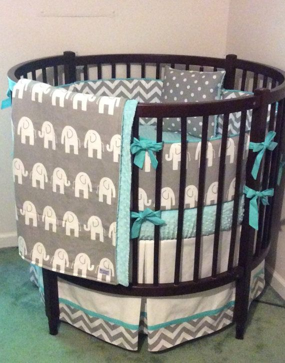 Baby Bassinet Valance Round Crib Bedding Set Aqua Gray And White By
