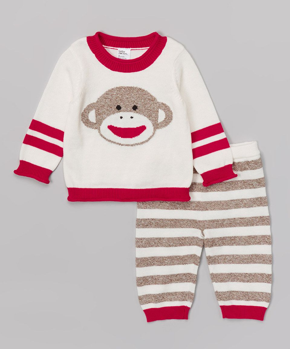 This Sock Monkey Red & White Sock Monkey Sweater & Pants - Infant by Sock Monkey is perfect! #zulilyfinds