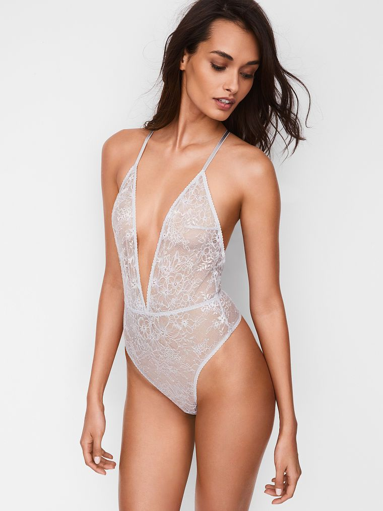 With a down-to-there plunge and high-cut leg, this teddy takes sexy to  extremes. Sheer, unlined Plunge neckline Adjustable, Y-back strap Pull-on  style.