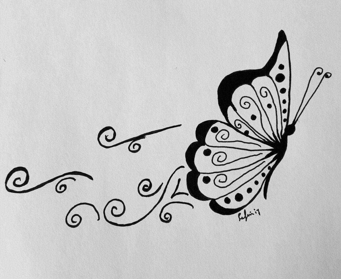 Butterfly..Vlinder..drawing tekening lafincreaties