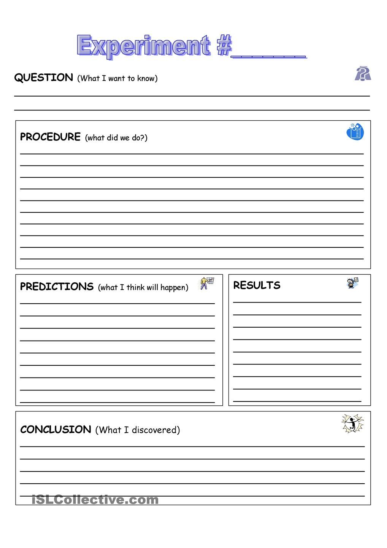 Experiment Record Sheet High School Science – Super Scientist Worksheet