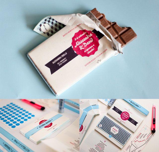 Tarjetas de invitación con barras de chocolat, una idea genial para el invierno…