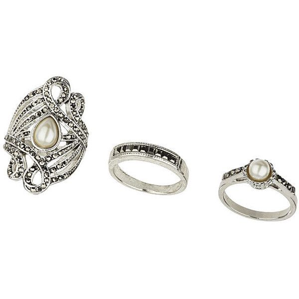 TOPSHOP Pearl Ring Pack found on Polyvore