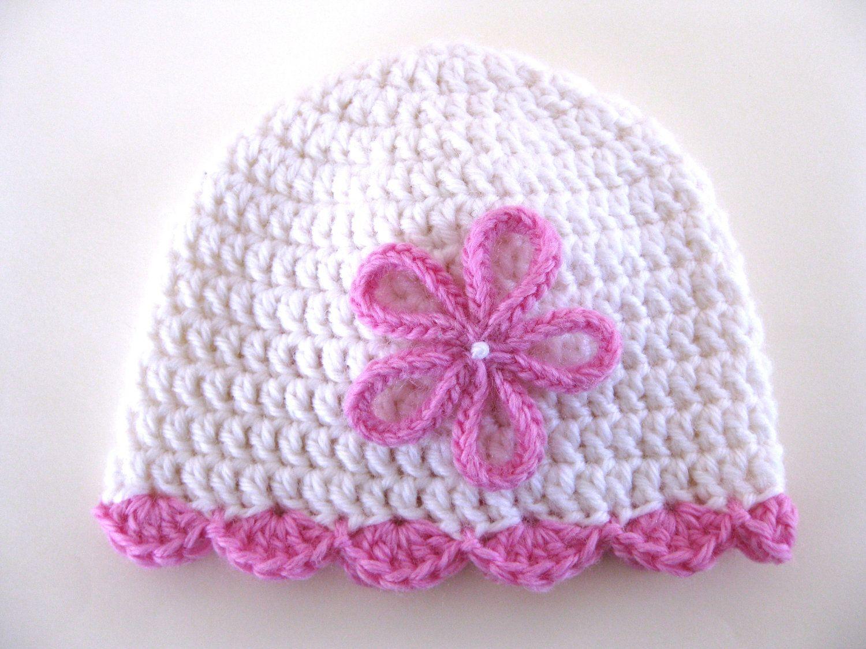Pattern preemie crochet hat shell edge flower pdf girl baby scallop ...