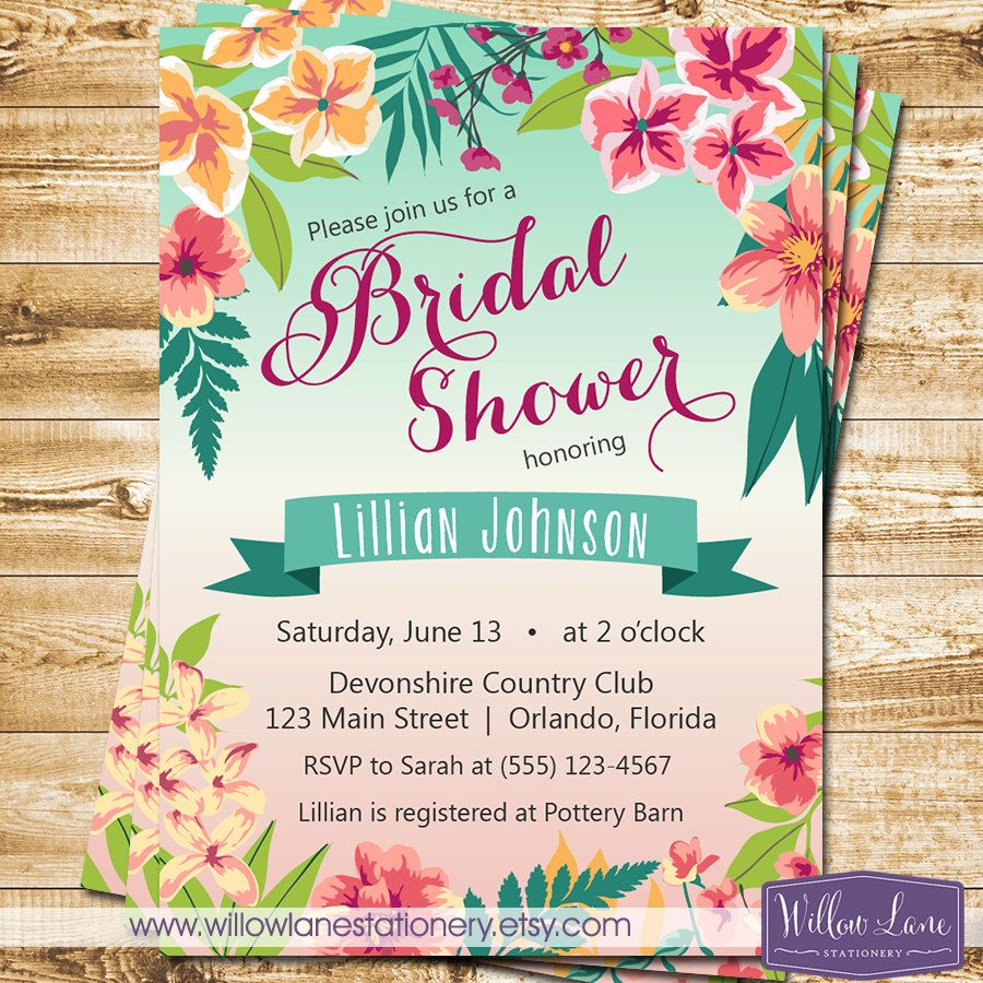 Tropical bridal shower invitation island flowers hawaiian luau tropical bridal shower invitation island flowers hawaiian luau bridal shower invite wedding shower tropical engagement party 2305 tropical bridal stopboris Images