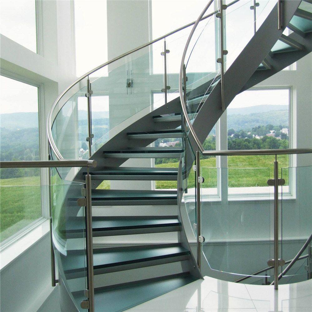 Hot Item Curved Frameless Glass Balustrade Railing Staircases | Frameless Glass Stair Railing | Metal | Seamless Glass | Handrail | Framed Glass | Office