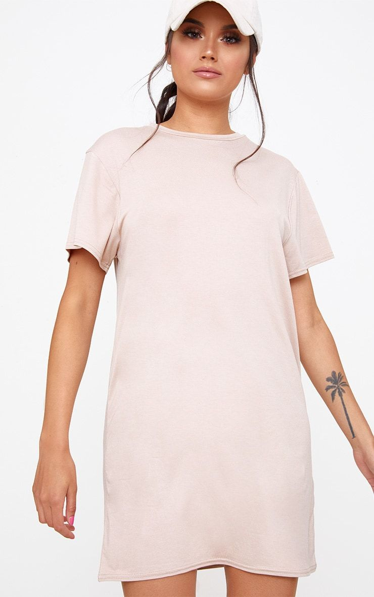 24860d4de7 Basic Nude Short Sleeve T Shirt Dress   Fashion   Dresses, Shirt ...