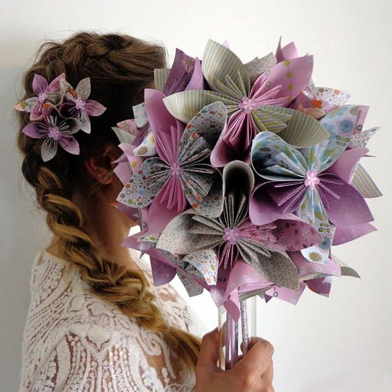 Rustic bridal bouquet origami – country vase origami wedding bouquet – kusudama origami eternal wedding bouquet