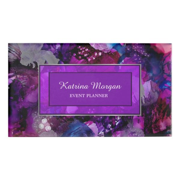 Wedding Planner Names Ideas: Modern Dramatic Inks Purple Name Tag
